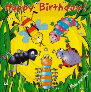Children's Birthday Card Spinner - Jungle Bugs